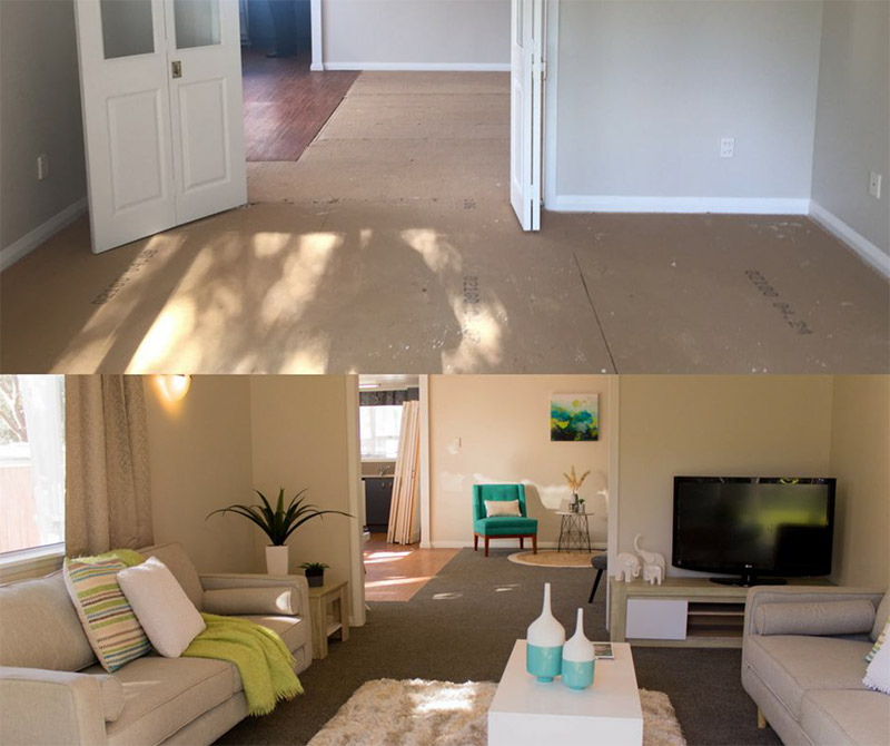 A home before and after the installation of Mr Rental furniture